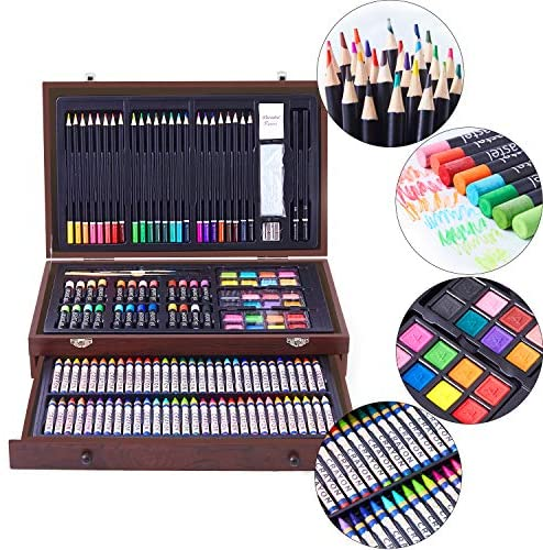 51GiVaTps1L. AC  - 145 Piece Deluxe Art Creativity Set with 2 x 50 Page Drawing Pad, Art Supplies in Portable Wooden Case- Crayons, Oil Pastels, Colored Pencils, Watercolor Cakes, Sharpener, Sandpaper - Deluxe Art Set