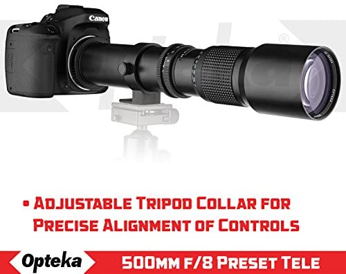 51H+XZY5xJL. AC  - Super 500mm/1000mm f/8 Manual Telephoto Lens for Canon EOS, 80D, 70D, 77D, 60D, 60Da, 1Ds, Mark III and II 7D, 6D, 5D, 5DS Rebel T7i, T7s, T6s, T6i, T6, T5i, T5, T4i, T3, SL2, SL1 Digital SLR Cameras