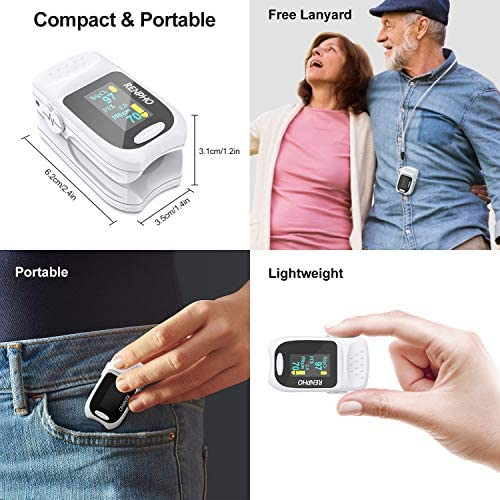 51I5hNjvsmL. AC  - Pulse Oximeter Fingertip, RENPHO Accurate Reading Pediatric and Adult Oxygen Monitor Medical Use, Easy to Use Blood Oxygen Saturation Meter, Batteries and Lanyard, Spo2 Oximeter Portable with Alarm