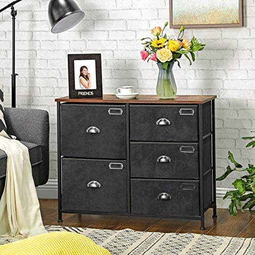 51J a9VeX+L. AC  - SONGMICS Wide Dresser, Fabric Drawer Dresser with 5 Drawers, Industrial Closet Storage Drawers with Metal Frame, Wooden Top, Closet Organizer for Hallway, Nursery, Rustic Brown and Black ULVT05H