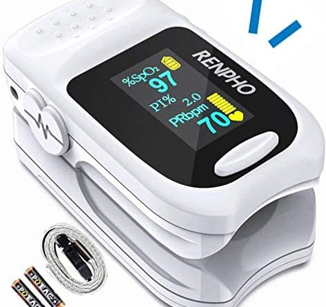 51JoVITyNUL. AC  472x445 - Pulse Oximeter Fingertip, RENPHO Accurate Reading Pediatric and Adult Oxygen Monitor Medical Use, Easy to Use Blood Oxygen Saturation Meter, Batteries and Lanyard, Spo2 Oximeter Portable with Alarm