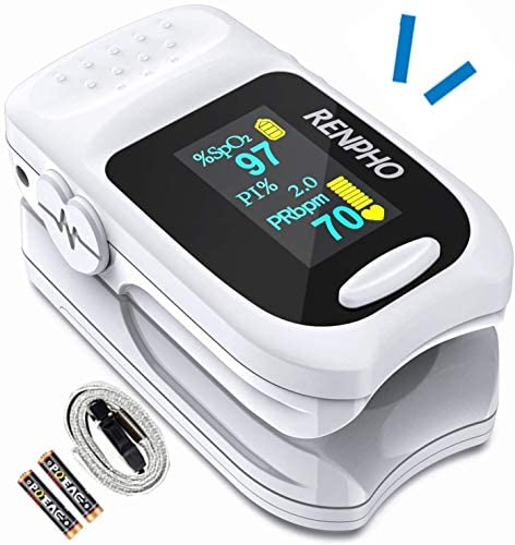 51JoVITyNUL. AC  - Pulse Oximeter Fingertip, RENPHO Accurate Reading Pediatric and Adult Oxygen Monitor Medical Use, Easy to Use Blood Oxygen Saturation Meter, Batteries and Lanyard, Spo2 Oximeter Portable with Alarm