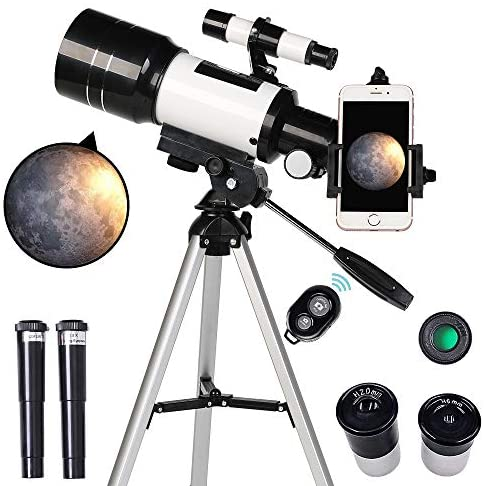 51MdCqFWc5L. AC  - ToyerBee Telescope for Kids& Beginners, 70mm Aperture 300mm Astronomical Refractor Telescope, Tripod& Finder Scope- Portable Travel Telescope with Smartphone Adapter and Wireless Remote