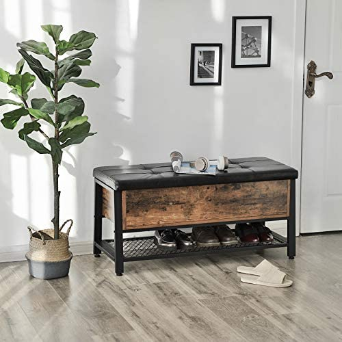 51Rvy24PyYL. AC  - VASAGLE Industrial Storage Bench, Shoe Bench with Padded Seat and Metal Shelf, Multifunctional Seat Chest, Hallway Living Room, Sturdy Metal Frame ULSB47BX