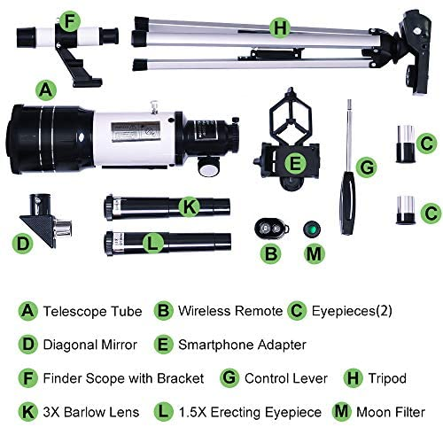 51T8s+g9JvL. AC  - ToyerBee Telescope for Kids& Beginners, 70mm Aperture 300mm Astronomical Refractor Telescope, Tripod& Finder Scope- Portable Travel Telescope with Smartphone Adapter and Wireless Remote