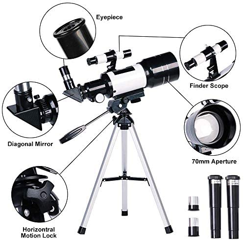 51TR6 F A5L. AC  - ToyerBee Telescope for Kids& Beginners, 70mm Aperture 300mm Astronomical Refractor Telescope, Tripod& Finder Scope- Portable Travel Telescope with Smartphone Adapter and Wireless Remote