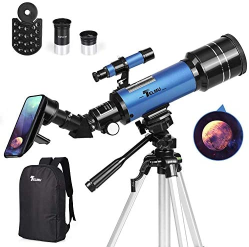 51YjqiTL9XL. AC  - TELMU Telescope, 70mm Aperture 400mm AZ Mount Astronomical Refracting Telescope Adjustable(17.7In-35.4In) Portable Travel Telescopes with Backpack, Phone Adapter