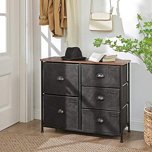 51ZNTWmK7QL. AC  - SONGMICS Wide Dresser, Fabric Drawer Dresser with 5 Drawers, Industrial Closet Storage Drawers with Metal Frame, Wooden Top, Closet Organizer for Hallway, Nursery, Rustic Brown and Black ULVT05H
