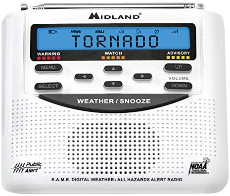 51bgS9oG6cL. AC  - Midland - WR120B/WR120EZ - NOAA Emergency Weather Alert Radio - S.A.M.E. Localized Programming, Trilingual Display, 60+ Emergency Alerts, & Alarm Clock (WR120B - Box Packaging)