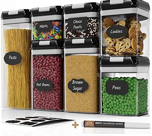 51cV xMw3WL. AC  498x445 - Chef's Path Airtight Food Storage Container Set - 7 PC Set - Labels & Marker - Kitchen & Pantry Organization Containers - BPA-Free - Clear Plastic Canisters for Flour, Cereal with Improved Lids