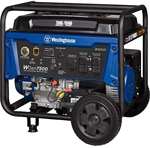 51cfNMBsD2L. AC  - Westinghouse WGen7500 Portable Generator with Remote Electric Start - 7500 Rated Watts & 9500 Peak Watts - Gas Powered - CARB Compliant - Transfer Switch Ready