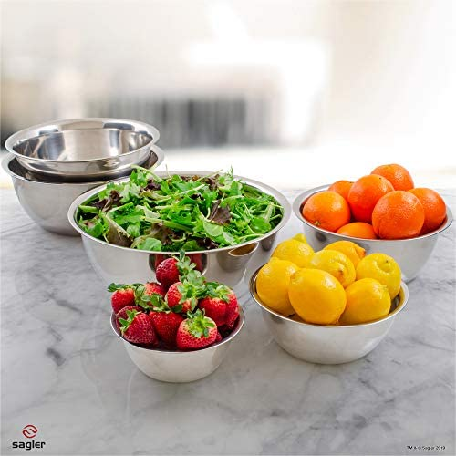 51eJtpGY+sL. AC  - mixing bowls - mixing bowl Set of 6 - stainless steel mixing bowls - Polished Mirror kitchen bowls - Set Includes ¾, 2, 3.5, 5, 6, 8 Quart - Ideal For Cooking & Serving - Easy to clean - Great gift