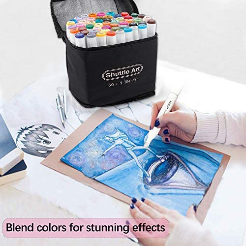 51erCrhkqUL. AC  - Shuttle Art 51 Colors Dual Tip Alcohol Based Art Markers, 50 Colors plus 1 Blender Permanent Marker Pens Highlighters with Case Perfect for Illustration Adult Coloring Sketching and Card Making
