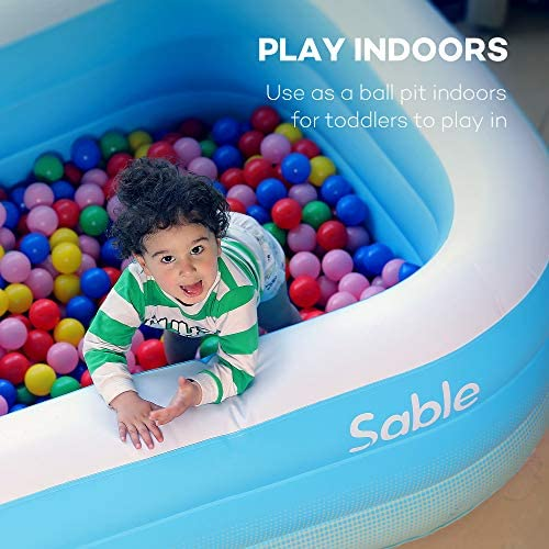 """51h19mAh+FL. AC  - Sable Inflatable Pool, Blow Up Family Full-Sized Pool for Kids, Toddlers, Infant & Adult, 118"""" X 72"""" X 22"""", Swim Center for Ages 3+, Outdoor, Garden, Backyard, Summer Water Party"""