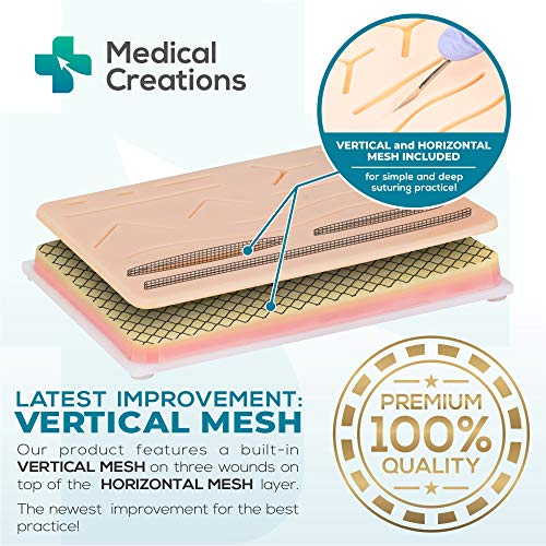 51hSbBCVB6L - Suture Practice Kit by Medical Creations - with Suturing Video Series by Board-Certified Surgeon and Ebook Training Guide - Silicone Suturing Pad with Tool Kit - for any Student in the Medical Field