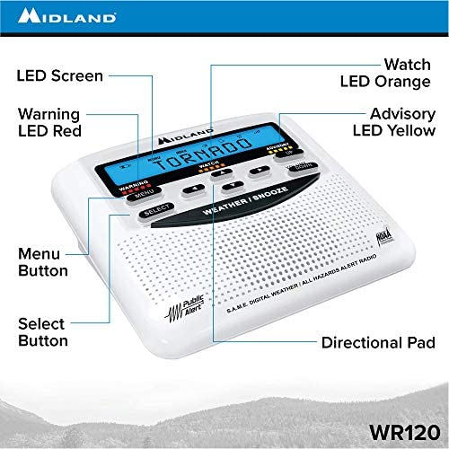 51iUgoOjSNL. AC  - Midland - WR120B/WR120EZ - NOAA Emergency Weather Alert Radio - S.A.M.E. Localized Programming, Trilingual Display, 60+ Emergency Alerts, & Alarm Clock (WR120B - Box Packaging)