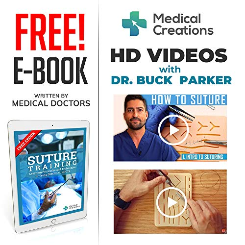 51jxhpE32+L - Suture Practice Kit by Medical Creations - with Suturing Video Series by Board-Certified Surgeon and Ebook Training Guide - Silicone Suturing Pad with Tool Kit - for any Student in the Medical Field