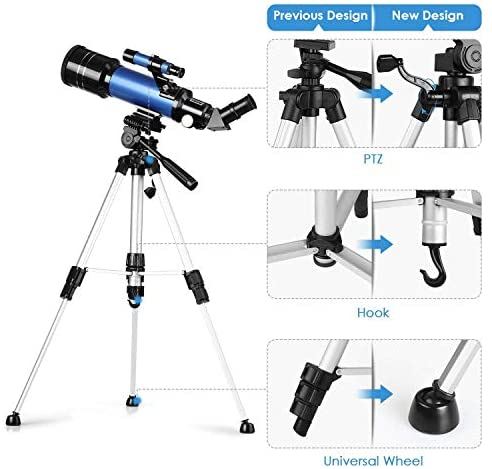 51kEiRnEr L. AC  - TELMU Telescope, 70mm Aperture 400mm AZ Mount Astronomical Refracting Telescope Adjustable(17.7In-35.4In) Portable Travel Telescopes with Backpack, Phone Adapter