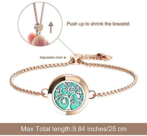 51lYjc7prIL. AC  - Aromatherapy Essential Oil Diffuser Bracelet - ttstar Rose Gold Stainless Steel Adjustable Women Jewelry Diffuser Bracelet with 24 Refill Pads Gift Se
