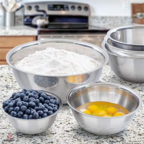 51mUAKQrDYL. AC  - mixing bowls - mixing bowl Set of 6 - stainless steel mixing bowls - Polished Mirror kitchen bowls - Set Includes ¾, 2, 3.5, 5, 6, 8 Quart - Ideal For Cooking & Serving - Easy to clean - Great gift