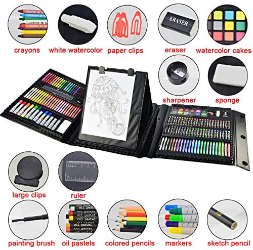 51oUwPRm76L. AC  - Sunnyglade 185 Pieces Double Sided Trifold Easel Art Set, Drawing Art Box with Oil Pastels, Crayons, Colored Pencils, Markers, Paint Brush, Watercolor Cakes, Sketch Pad