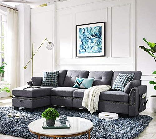 51qAvm xmAL. AC  500x445 - HONBAY Reversible Sectional Sofa Couch for Living Room L-Shape Sofa Couch 4-seat Sofas Sectional for Apartment Dark Grey
