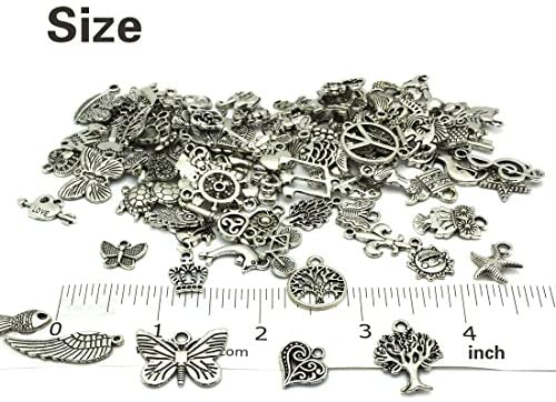 51sL8PhqrtL. AC  - JIALEEY Wholesale Bulk Lots Jewelry Making Silver Charms Mixed Smooth Tibetan Silver Metal Charms Pendants DIY for Necklace Bracelet Jewelry Making and Crafting, 100 PCS