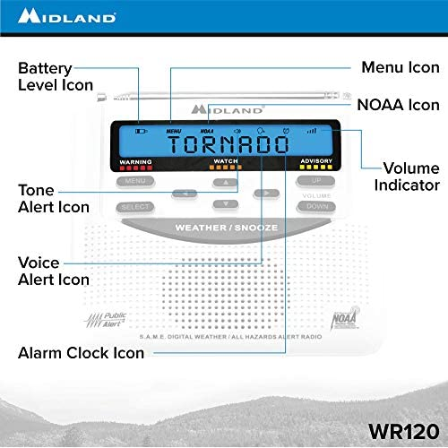 51sSLsXUaHL. AC  - Midland - WR120B/WR120EZ - NOAA Emergency Weather Alert Radio - S.A.M.E. Localized Programming, Trilingual Display, 60+ Emergency Alerts, & Alarm Clock (WR120B - Box Packaging)