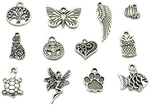 51saSNYLd1L. AC  - JIALEEY Wholesale Bulk Lots Jewelry Making Silver Charms Mixed Smooth Tibetan Silver Metal Charms Pendants DIY for Necklace Bracelet Jewelry Making and Crafting, 100 PCS