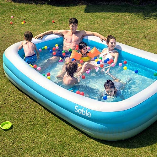 """61NLYST6aGL. AC  - Sable Inflatable Pool, Blow Up Family Full-Sized Pool for Kids, Toddlers, Infant & Adult, 118"""" X 72"""" X 22"""", Swim Center for Ages 3+, Outdoor, Garden, Backyard, Summer Water Party"""
