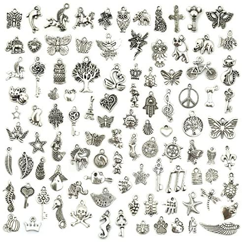 61NR14fhpkL. AC  - JIALEEY Wholesale Bulk Lots Jewelry Making Silver Charms Mixed Smooth Tibetan Silver Metal Charms Pendants DIY for Necklace Bracelet Jewelry Making and Crafting, 100 PCS