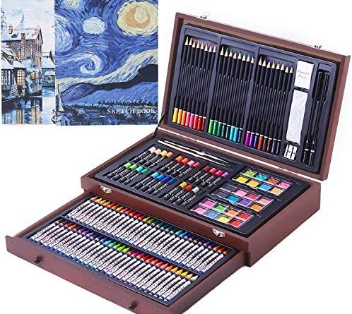 61PVlCDSpL. AC  498x445 - 145 Piece Deluxe Art Creativity Set with 2 x 50 Page Drawing Pad, Art Supplies in Portable Wooden Case- Crayons, Oil Pastels, Colored Pencils, Watercolor Cakes, Sharpener, Sandpaper - Deluxe Art Set