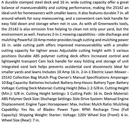 61UNXBhNNHL. AC  - Greenworks 16-Inch 10 Amp Corded Electric Lawn Mower 25142