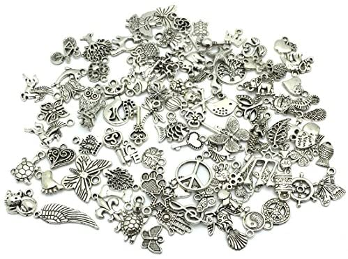 61j5h7fI3 L. AC  - JIALEEY Wholesale Bulk Lots Jewelry Making Silver Charms Mixed Smooth Tibetan Silver Metal Charms Pendants DIY for Necklace Bracelet Jewelry Making and Crafting, 100 PCS