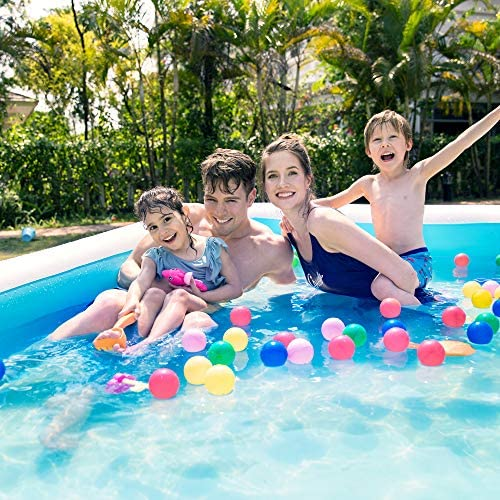 """61l4aM2Ki+L. AC  - Sable Inflatable Pool, Blow Up Family Full-Sized Pool for Kids, Toddlers, Infant & Adult, 118"""" X 72"""" X 22"""", Swim Center for Ages 3+, Outdoor, Garden, Backyard, Summer Water Party"""
