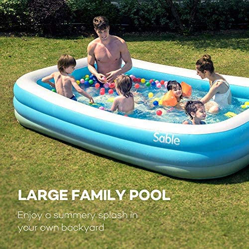 """61t0luDPWgL. AC  - Sable Inflatable Pool, Blow Up Family Full-Sized Pool for Kids, Toddlers, Infant & Adult, 118"""" X 72"""" X 22"""", Swim Center for Ages 3+, Outdoor, Garden, Backyard, Summer Water Party"""