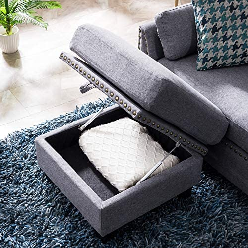 61uhdvjf60L. AC  - HONBAY Reversible Sectional Sofa Couch for Living Room L-Shape Sofa Couch 4-seat Sofas Sectional for Apartment Dark Grey