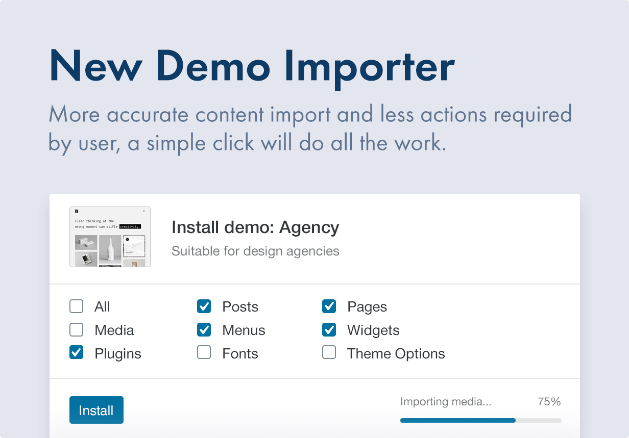 8 new demo importer - Kalium - Creative Theme for Professionals