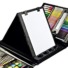 8e1f6830 dd07 4a4c 92b8 f4c79c5c90ef.  CR0,0,1300,1300 PT0 SX220 V1    - Sunnyglade 185 Pieces Double Sided Trifold Easel Art Set, Drawing Art Box with Oil Pastels, Crayons, Colored Pencils, Markers, Paint Brush, Watercolor Cakes, Sketch Pad