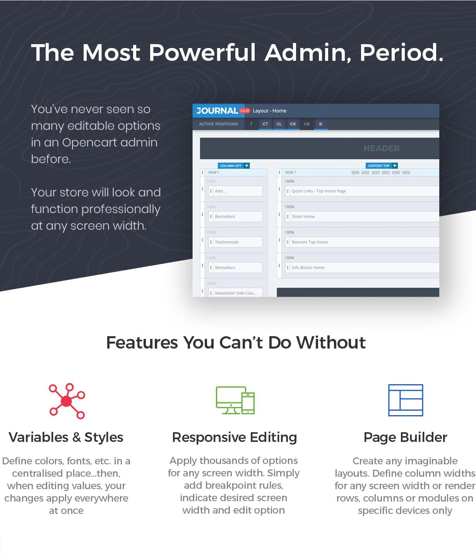 admin - Journal - Advanced Opencart Theme