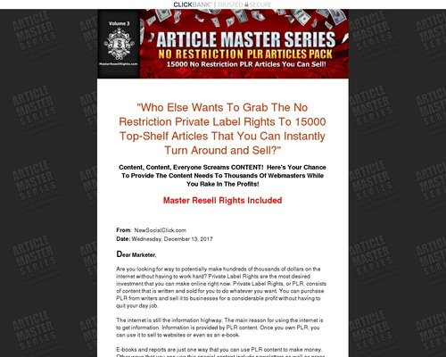 amsv3 x400 thumb - Article Master Series :: 15000 No Restriction PLR Articles Pack