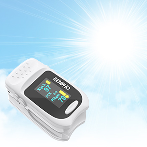 b3af6660 d3f8 40df 8ac1 e50a7499a809.  CR0,0,300,300 PT0 SX300 V1    - Pulse Oximeter Fingertip, RENPHO Accurate Reading Pediatric and Adult Oxygen Monitor Medical Use, Easy to Use Blood Oxygen Saturation Meter, Batteries and Lanyard, Spo2 Oximeter Portable with Alarm