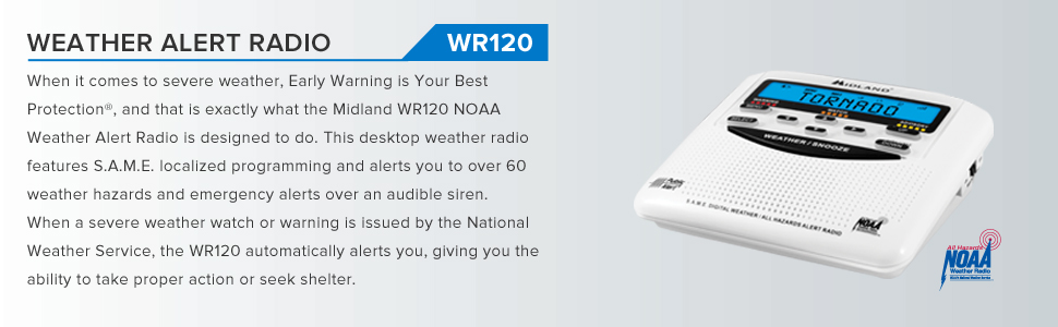 bfd92a68 2c28 4394 981d 9358da714aa9. CR0,0,970,300 PT0 SX970   - Midland - WR120B/WR120EZ - NOAA Emergency Weather Alert Radio - S.A.M.E. Localized Programming, Trilingual Display, 60+ Emergency Alerts, & Alarm Clock (WR120B - Box Packaging)