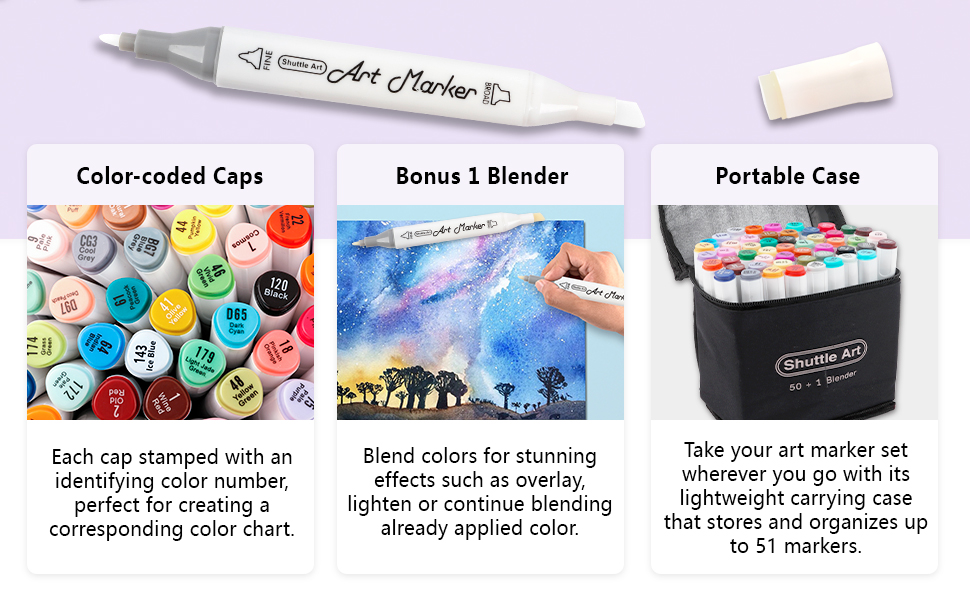 df836943 7aab 4121 9796 f716e65ff195.  CR0,0,970,600 PT0 SX970 V1    - Shuttle Art 51 Colors Dual Tip Alcohol Based Art Markers, 50 Colors plus 1 Blender Permanent Marker Pens Highlighters with Case Perfect for Illustration Adult Coloring Sketching and Card Making