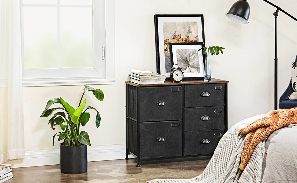 eb5924d4 6909 48a3 80a8 a05f6333d182.  CR0,0,970,600 PT0 SX970 V1    - SONGMICS Wide Dresser, Fabric Drawer Dresser with 5 Drawers, Industrial Closet Storage Drawers with Metal Frame, Wooden Top, Closet Organizer for Hallway, Nursery, Rustic Brown and Black ULVT05H
