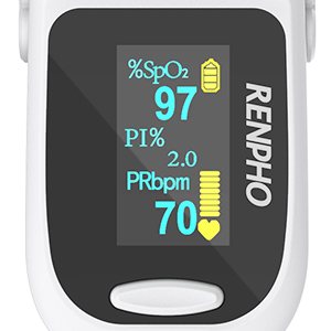 febc3e23 14e9 4a03 87bb b82fa1fd1571.  CR0,0,300,300 PT0 SX300 V1    - Pulse Oximeter Fingertip, RENPHO Accurate Reading Pediatric and Adult Oxygen Monitor Medical Use, Easy to Use Blood Oxygen Saturation Meter, Batteries and Lanyard, Spo2 Oximeter Portable with Alarm
