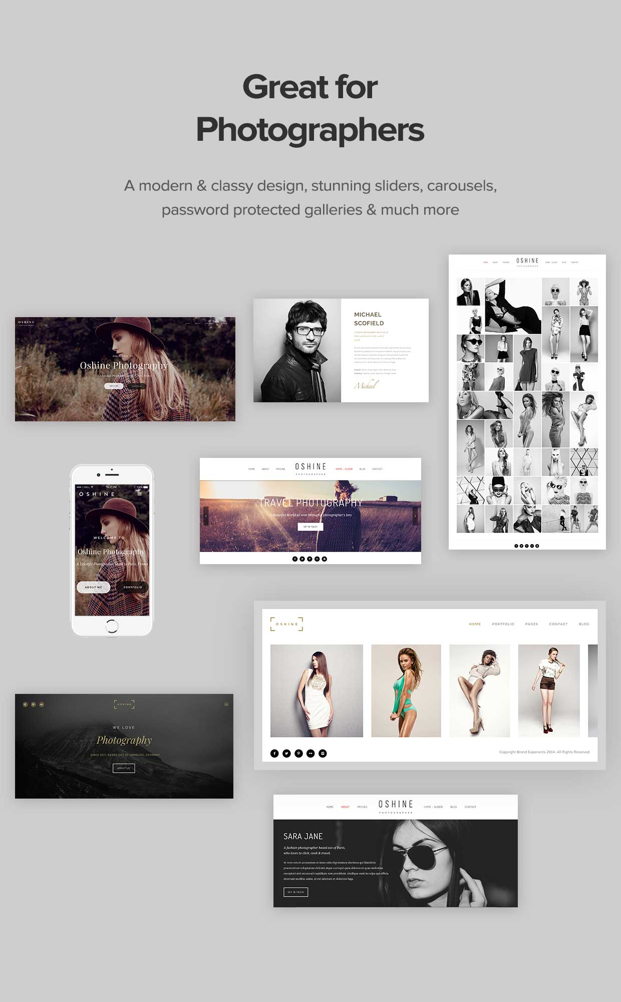 great for photographers - Oshine - Multipurpose Creative WordPress Theme