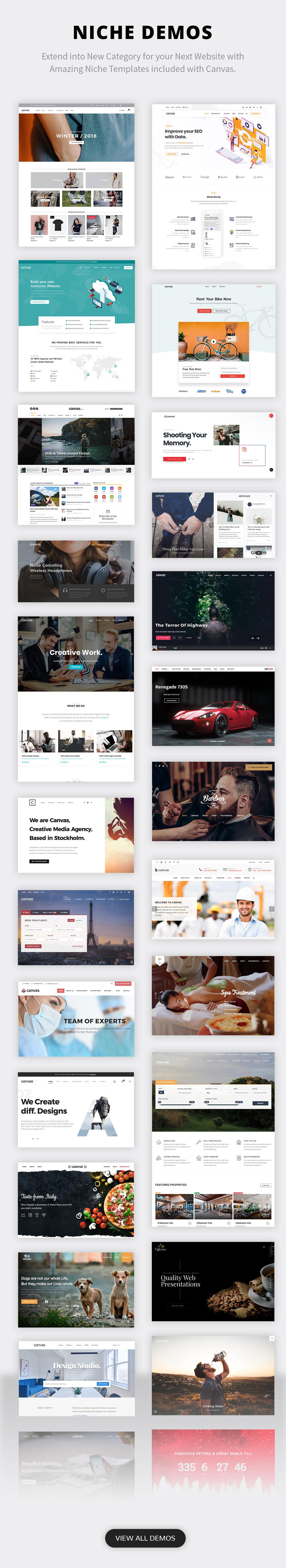 niche demos new - Canvas   The Multi-Purpose HTML5 Template