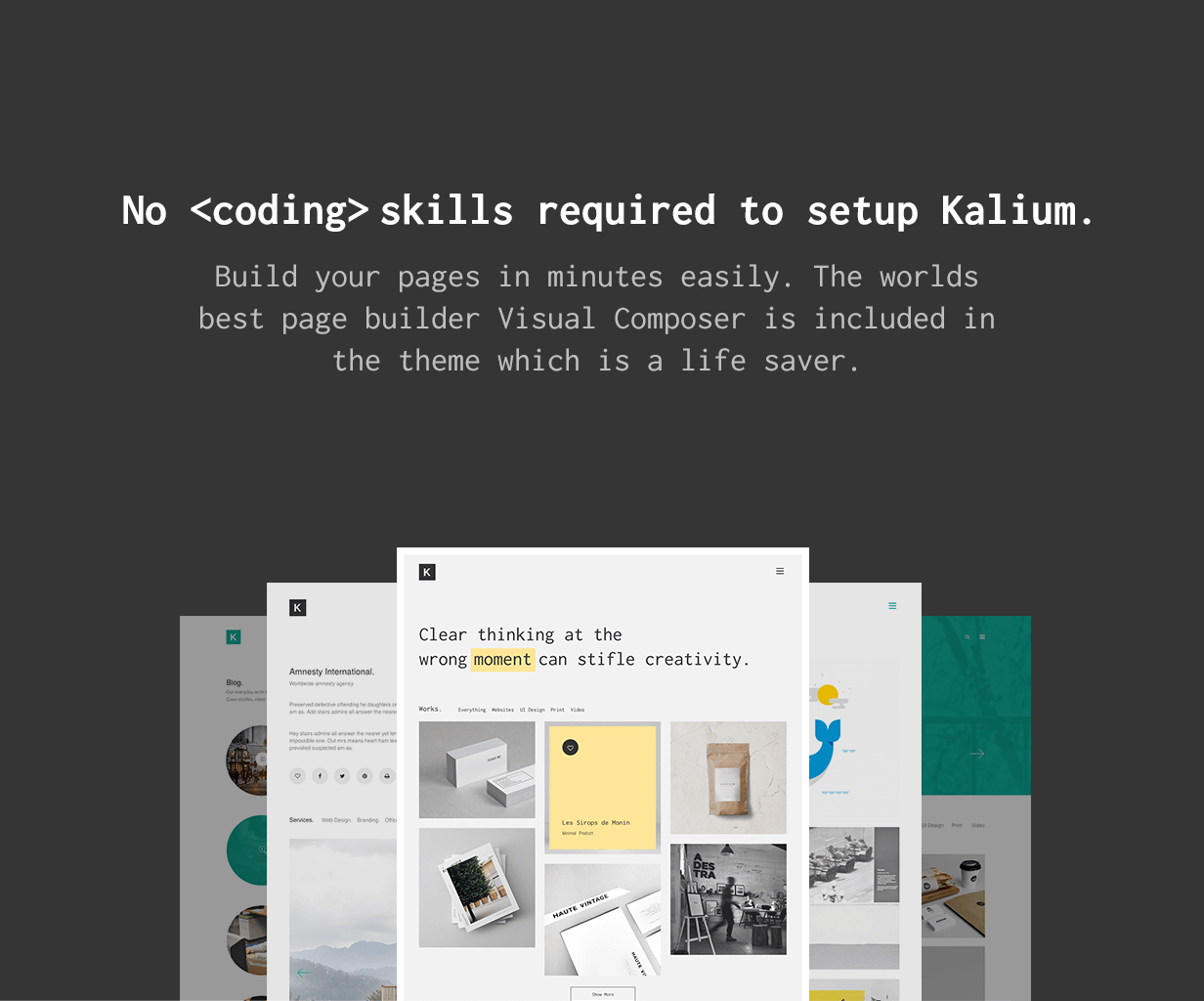 no coding skills - Kalium - Creative Theme for Professionals