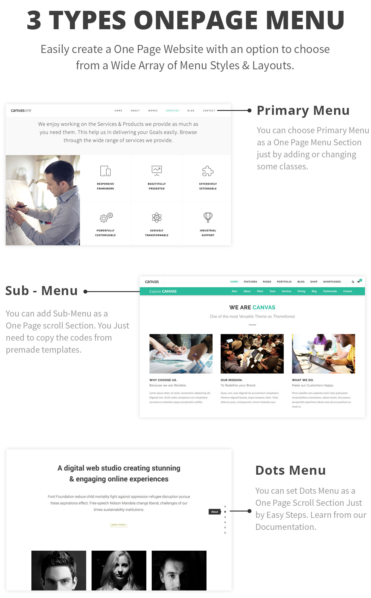 one page options - Canvas | The Multi-Purpose HTML5 Template